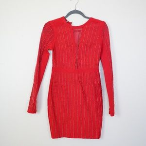 NWT - Guess Red Beaded Bandage Dress